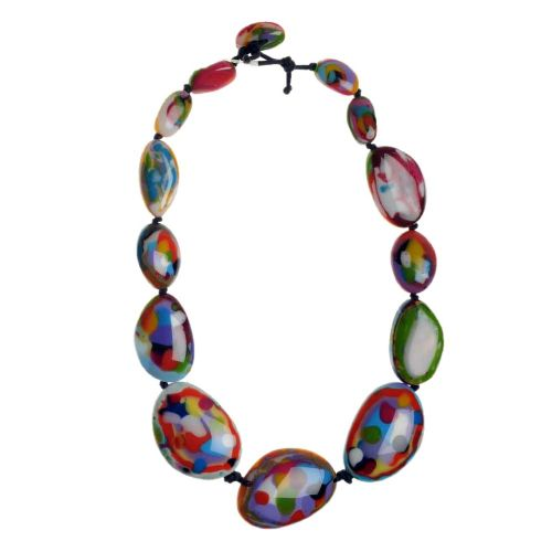 A Jackie Brazil Long Flat Riverstone Necklace in Kandinsky B